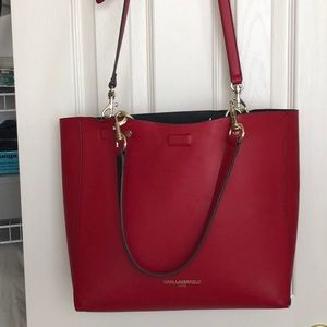 Karl Lagerfeld Red leather tote bag